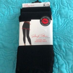 NWT Marilyn Monroe 2Pk control top footless tights